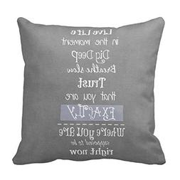 Inspirational Quote Gray Throw Pillow Cover Home Decorative