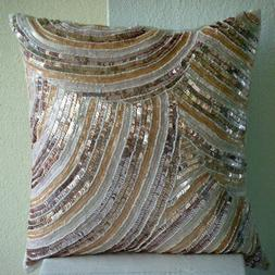 Ivory Sequins And Beaded Throw Pillows Cover, 20x20 Silk Pil