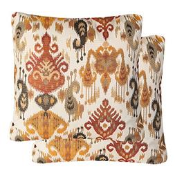 Mika Home Pack of 2 Jacquard Damask Accent Throw Pillow Case