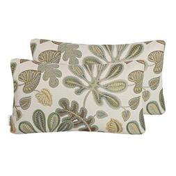 Mika Home Set of 2 Jacquard Tropical Leaf Pattern Oblong Thr
