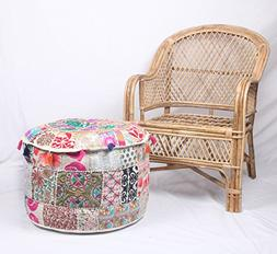 JTH Indian Large Floor Round Pillows Boho Patchwork Pouf