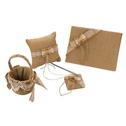 vLoveLife Khaki Rustic Wedding Flower Girl Basket + Guest Bo