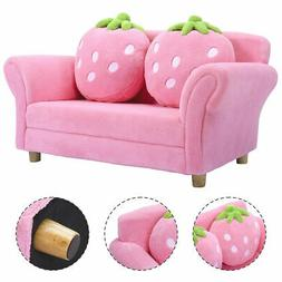 Kids Sofa Strawberry Armrest Chair Lounge Couch w/2 Pillow C