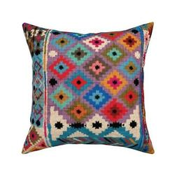 Kilim Bohemian Red Blue Throw Pillow Cover w Optional Insert