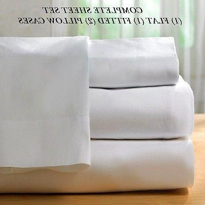 1 new white cotton king size sheet set 300T percale best for
