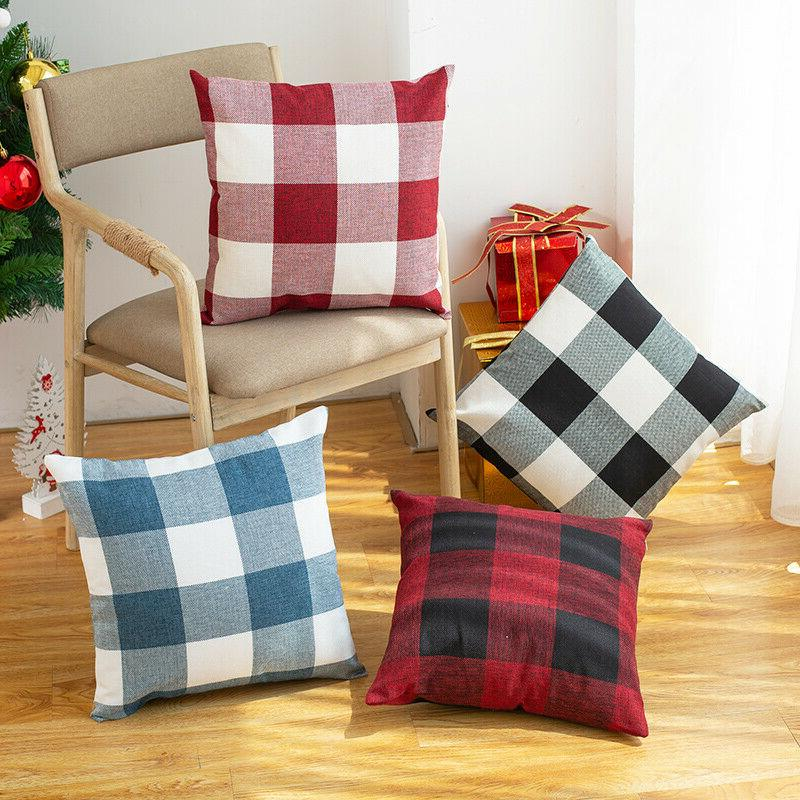 "17"" Plaid Gingham Pillow Case Cotton Linen Sofa Throw Cushio"