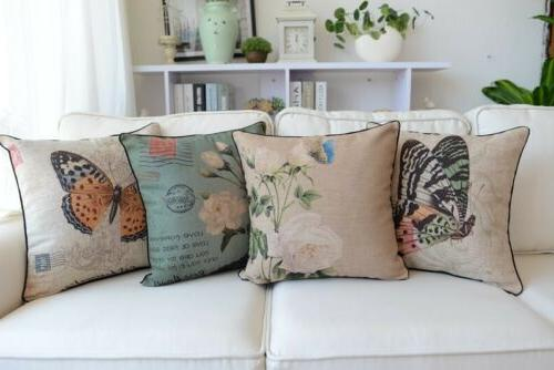 "18"" French Floral Bird Linen Throw Pillow Cushion"