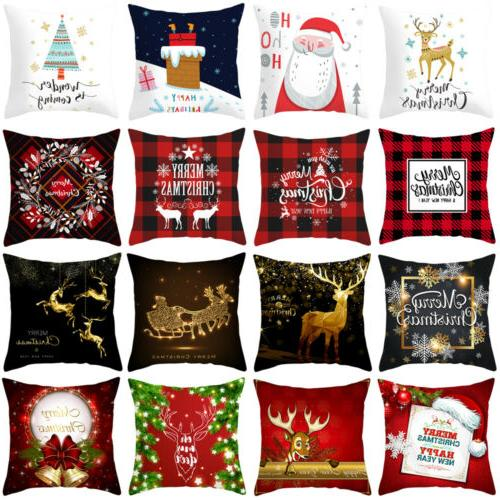 "18x18"" Christmas Xmas Pillow Throw Merry Cushion Deer Red Pl"