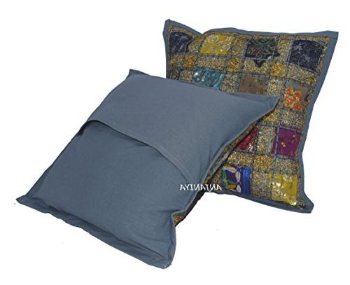 ANJANIYA Cushion Cover Indian Patchwork Throw Pillow Hand Embroidered