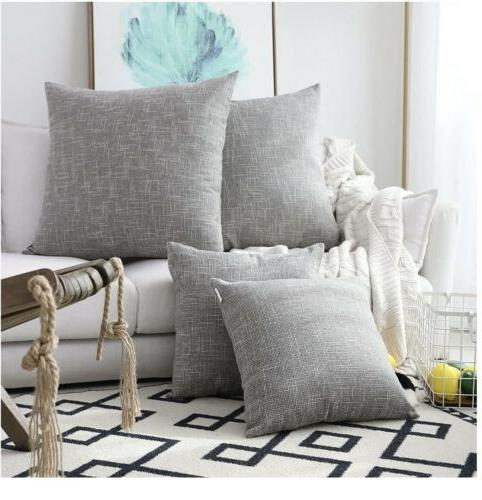 2 pack decorative linen throw pillow covers