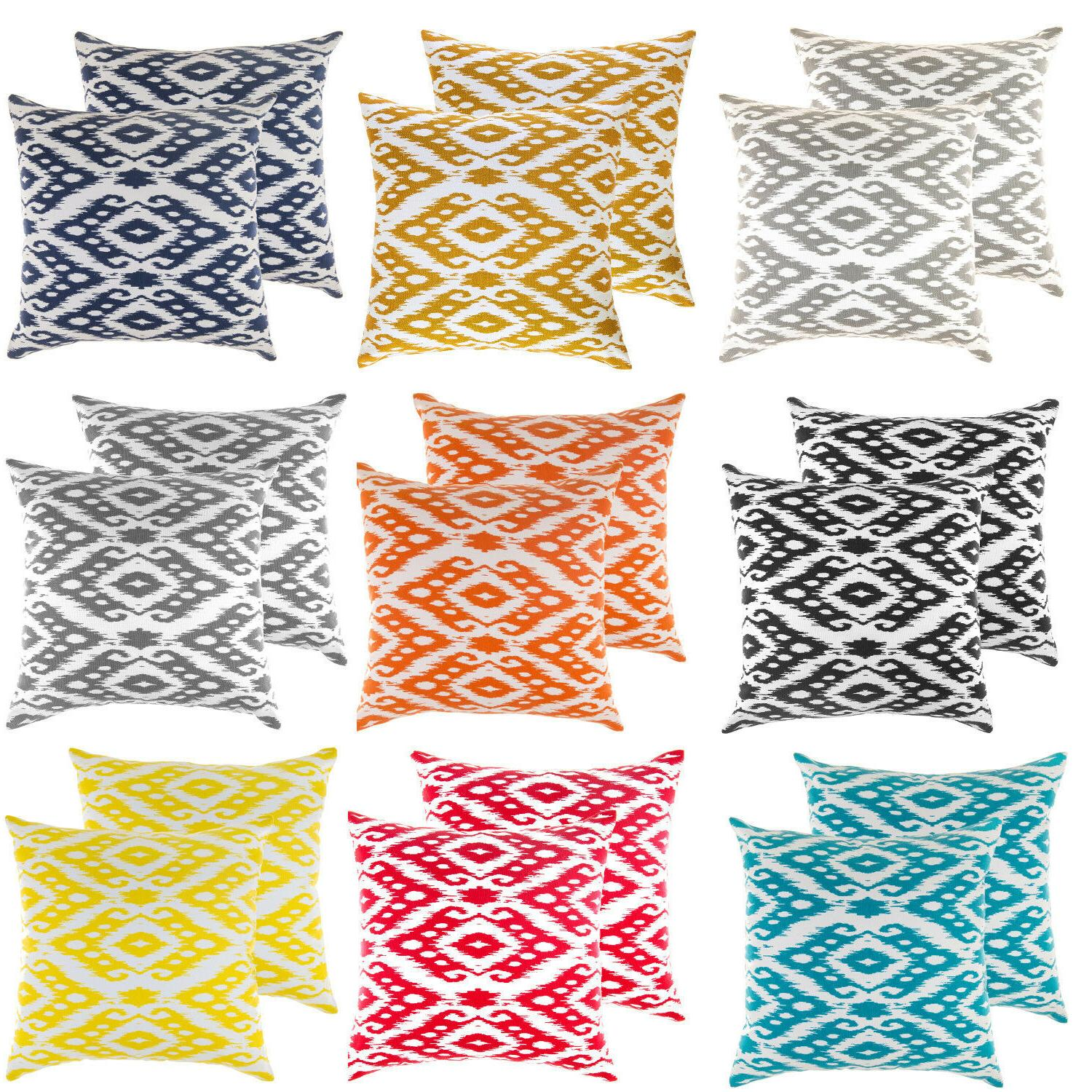 TreeWool,  Throw Pillow Covers in Cotton Canvas Ogee Ikat Di