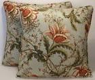 """2 18"""" Pink and Green Floral Jacquard Pattern Handmade Decora"""