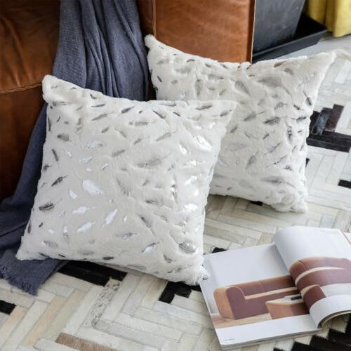 Fur with Printing Couch Bed Square Covers