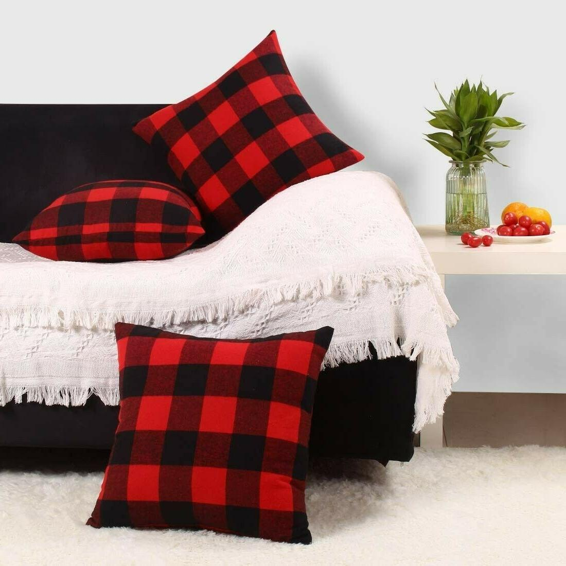 3 throw pillow covers red black buffalo