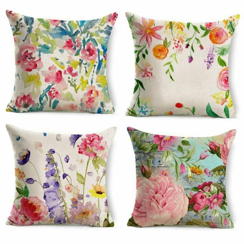 WOMHOPE 4 Pcs Colorful Spring Flower Throw Pillow Covers Cas