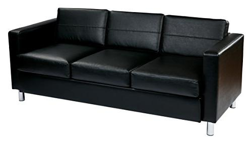 AVE SIX Pacific Vinyl Sofa Couch with Spring Seats and Silve