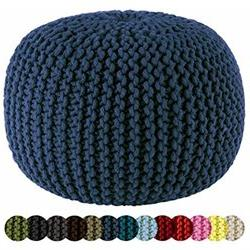 Cotton Craft - Hand Knitted Cable Style Dori Pouf - Blue - F