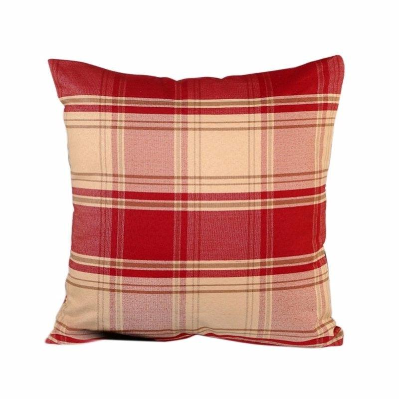 Decorative Plaid Red Throw Pillow Cushion Cover Case Cotton