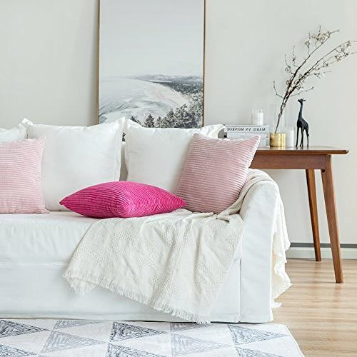 MIULEE Pack Corduroy Soft Square Throw Pillow Covers Set Cushion for 18 x 45