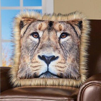 Nature Inspired Majestic Lion Decorative Throw Pillow w/ Fau
