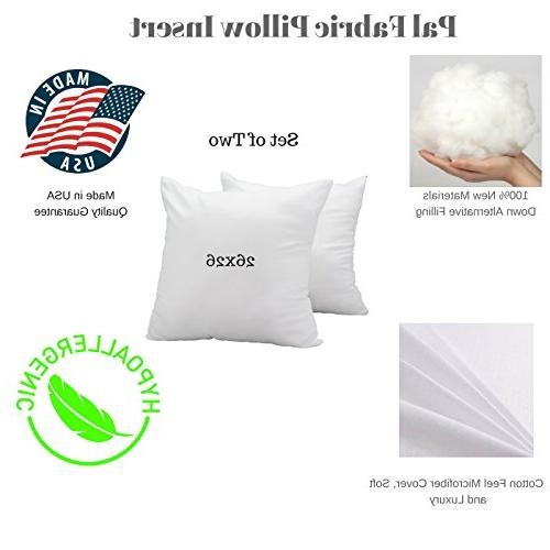 """Pal 26""""x26"""" White Feel Square Sham Bed Insert Form Fill Stuffer Cushion Made in"""