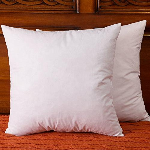 Set of 2, Cotton Fabric Throw Pillows Insert, Down and Feath