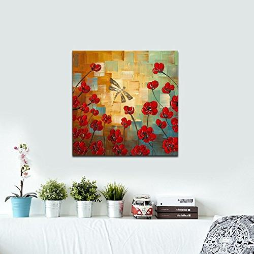 Wieco Art Dragonfly Floral Oil Paintings on Canvas