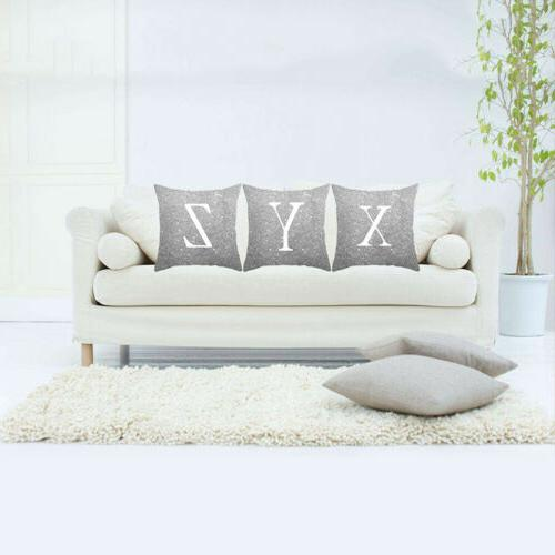 A-Z Square Pillow Case Throw Cover Home Sofa Bed Pillocase