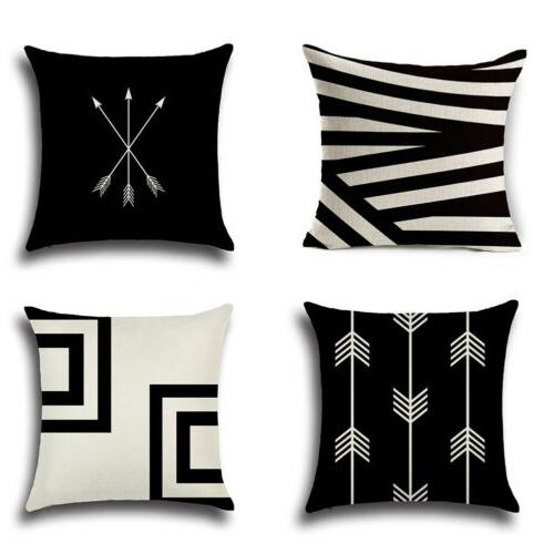 Abstract Geometric Cotton Cushion Cover Case