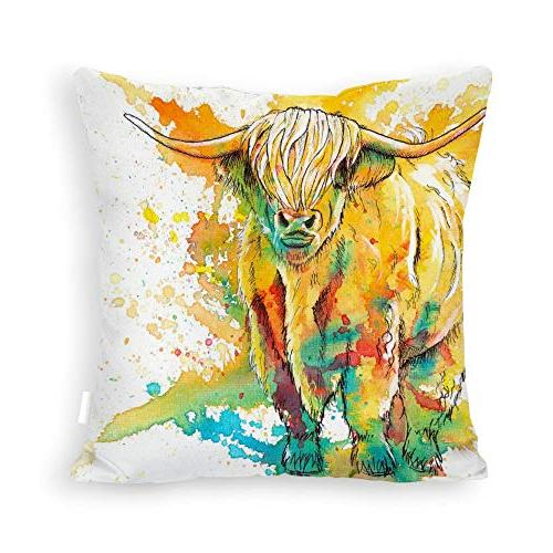 abstract highland cow square throw