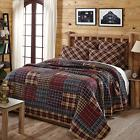 Austin 3 PC King Quilt Set Country Primitive Red Black and T