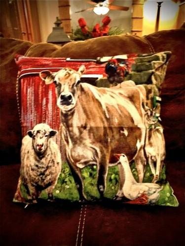 barn farm animals throw pillow cover farmhouse