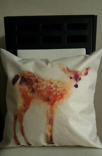 beautiful spotted fawn doe deer linen throw