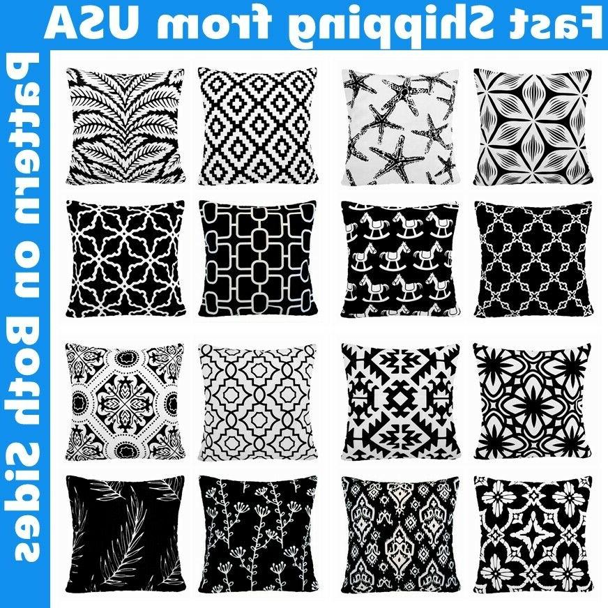 black and white accent geometric throw pillow