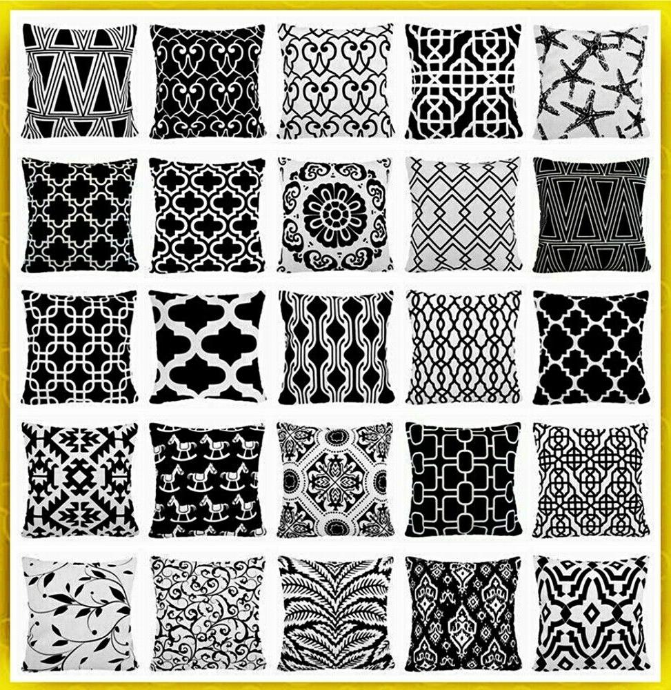 black and white geometric accent throw pillow