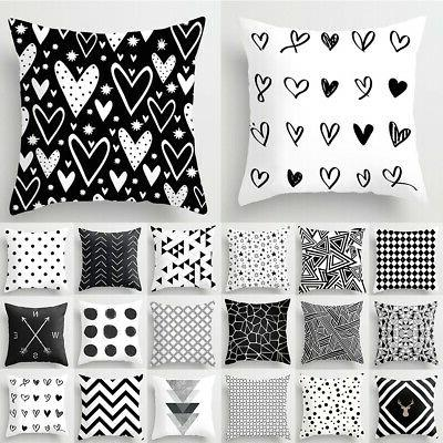 18'' Geometric Cushion Cover Black And White Polyester Throw