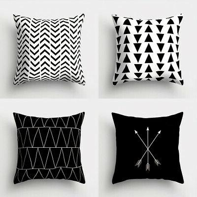 Black Geometric Throw Pillow Case Square Cushion Cover Home Well