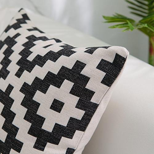 DEZENE Covers for Set of 6 Decorative Sofa Cushion Pillow-Cases,18 x inch,Geometric and Patterns