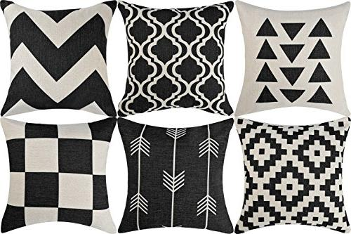 DEZENE Black Covers for Couch Set Decorative Sofa Square Cushion inch,Geometric Patterns