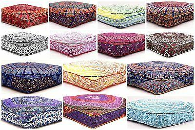 Bohemian Large Mandala Square Floor Pillow Throw Case Indian