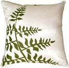 Pillow Decor - White with Green Bold Fern Throw Pillow  - SK