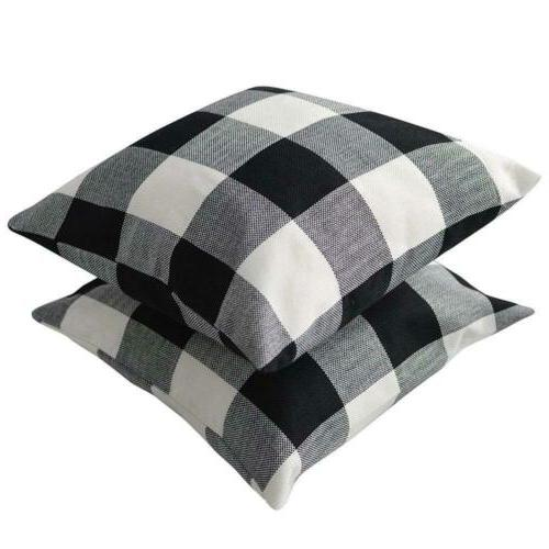 TEALP Buffalo Check Throw Pillow of White 1