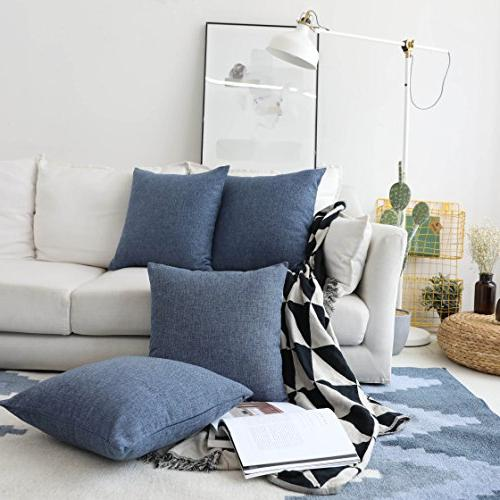 HOME BRILLIANT Throw Covers Decorative Cushion Covers, 18x18 inch, Set Blue