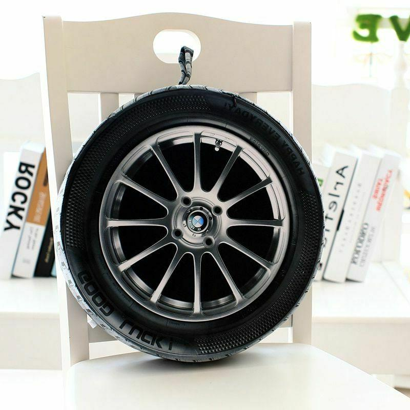 Car Wheel Tire Pillow Plush Cushion 3D Print Automobile Nove