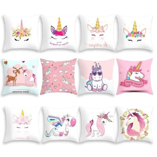 Cartoon Unicorn Print Sofa Cushion Cover Throw Pillow Case H