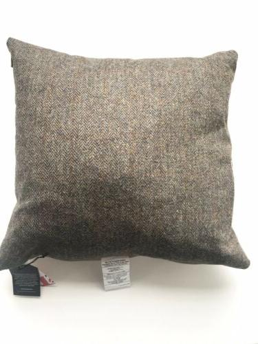 HARRIS TWEED CHARCOAL MARK HERRINGBONE THROW PILLOW DOWN 20x20