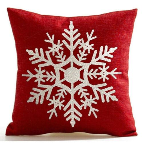 Christmas 2PCS Linen Cover Striped Welcome Pillow Home