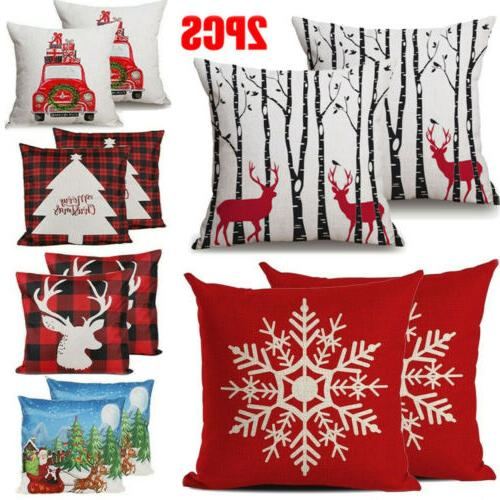 christmas 2pcs linen cushion cover striped welcome