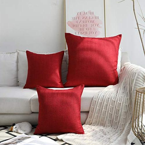 Kevin Farmhouse Checkered Cotton Linen Decorative Throw Pillow Case Cushion for Set of 2, , Pepper Red
