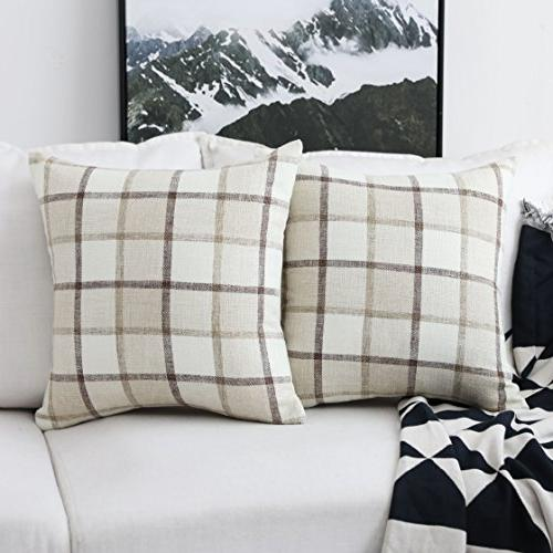 HOME BRILLIANT Retro Throw Pillow Covers Rustic Cotton Linen of 18 Inches, Beige